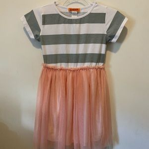 Funkyberry Striped and Tulle Tee Dress